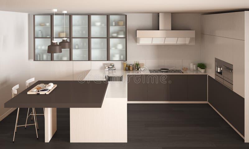 Cucina Bianca E Marrone Minima Classica Con Il Pavimento Di Parquet ...
