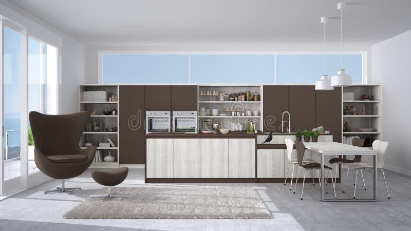 Cucina Bianca E Marrone Moderna Con I Dettagli Di Legno, Grande ...