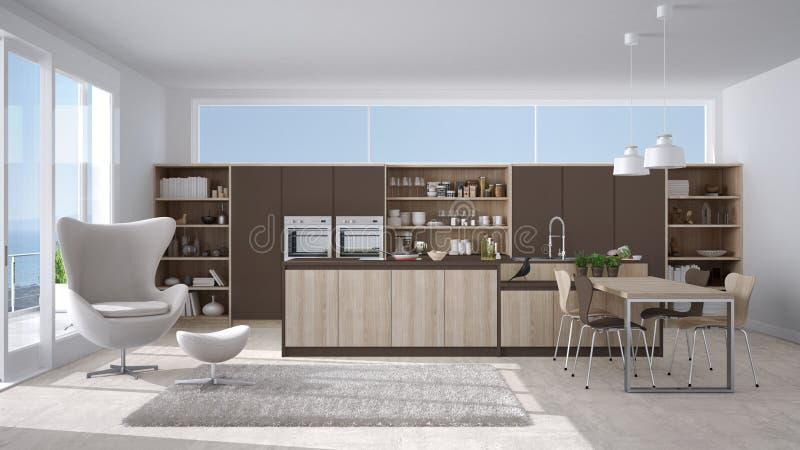 Cucina bianca e marrone moderna con i dettagli di legno - Cucina bianca e legno ...
