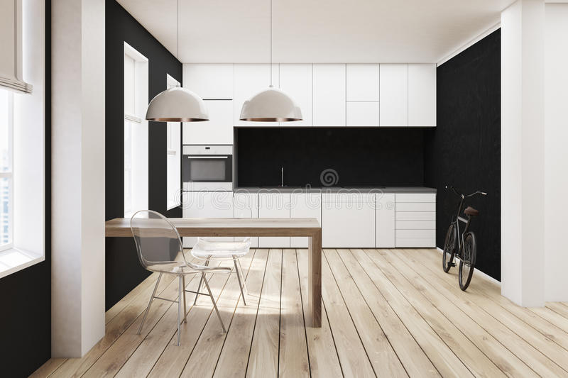 Cucina Bianca E Nera, Pavimento Di Legno Illustrazione di Stock ...