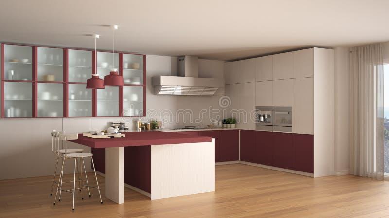 Cucina Bianca E Rossa Minima Classica Con Il Pavimento Di Parquet ...
