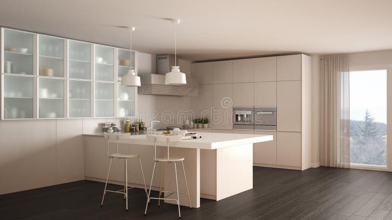 Cucina bianca minima classica con il pavimento di parquet interio moderno illustrazione di - Cucina bianca classica ...