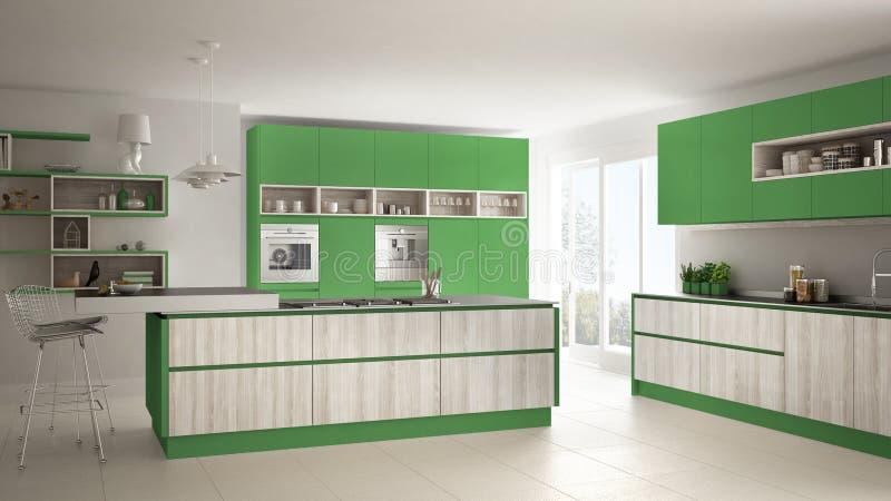 Cucina Bianca Moderna Con I Dettagli Di Legno E Verdi, Minimalistic ...