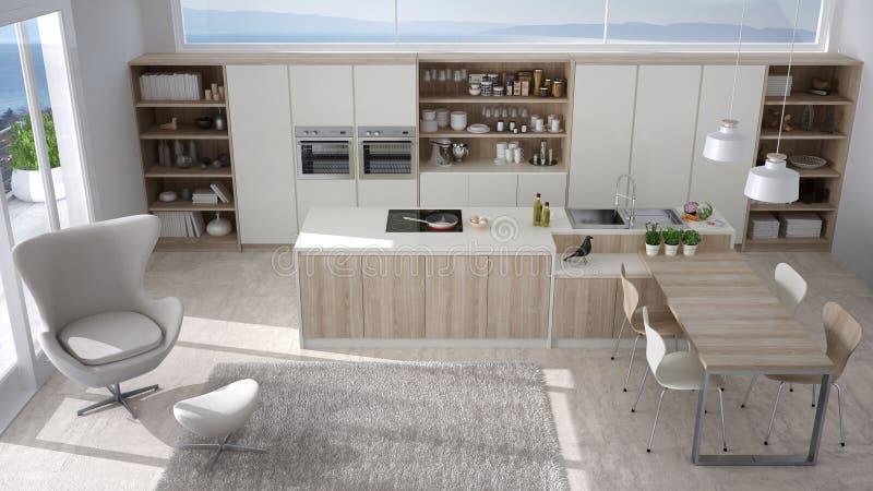 Cucina bianca moderna con i dettagli di legno la grande for Cucina moderna con finestra