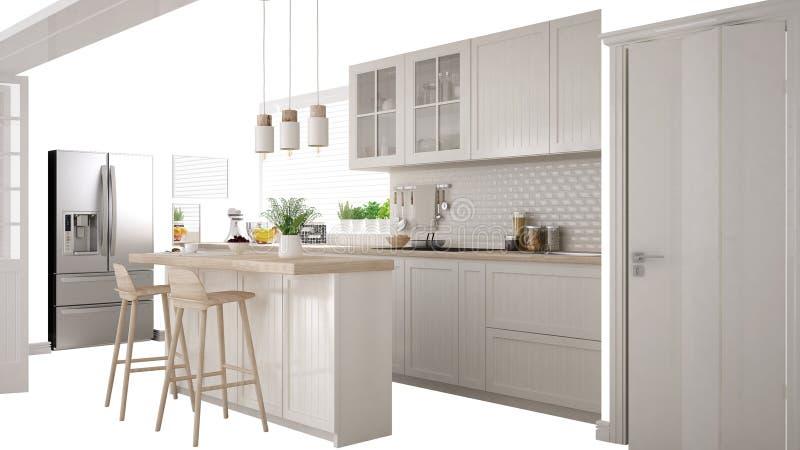 Cucina bianca scandinava con l'isola e gli accessori, idea di concetto di interior design, isolata su fondo bianco con lo spazio  illustrazione di stock