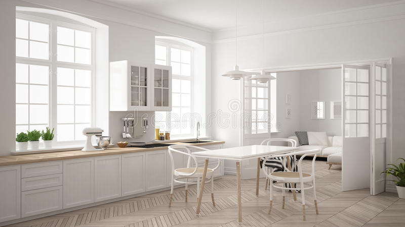 Cucina bianca scandinava minimalista con il salone nelle sedere fotografie stock libere da diritti
