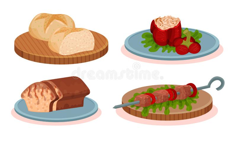 Cucina bulgara: raccolta nazionale di piatti, peperone cotto, pane fresco, barbeque Kebab, cozonac rumeno royalty illustrazione gratis