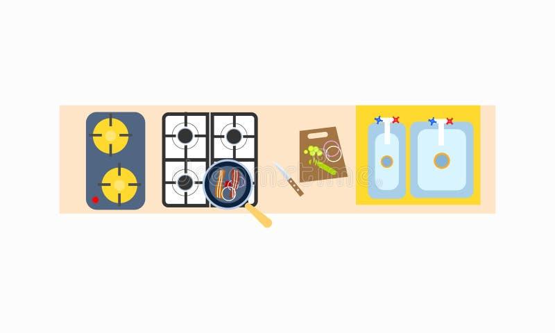 Cucina che cucina l'illustrazione di superficie di vettore dell'icona illustrazione di stock