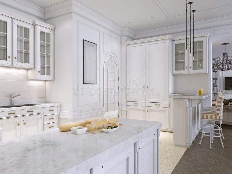 Cucina classica con i dettagli di legno e bianchi, interior design royalty illustrazione gratis