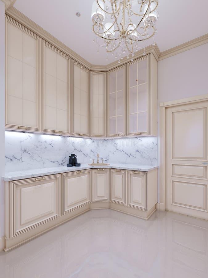 Cucina classica, interior design minimo scandinavo con i dettagli di legno illustrazione di stock