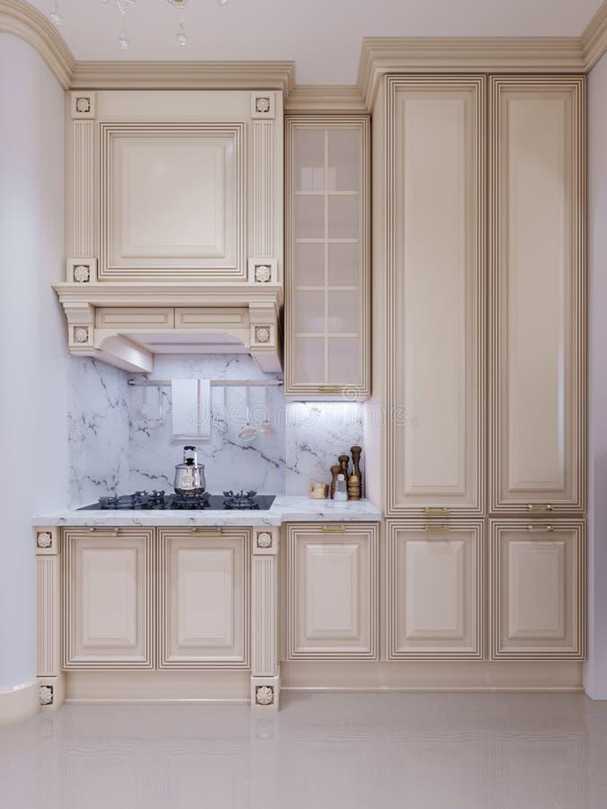 Cucina classica, interior design minimo scandinavo con woode illustrazione di stock