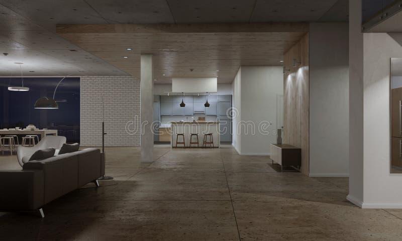 Cucina con gli sgabelli da bar di legno illustrazione di stock