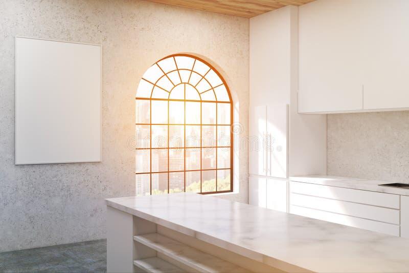 Cucina Con La Finestra A Forma Di Arco, Tonificata Illustrazione ...