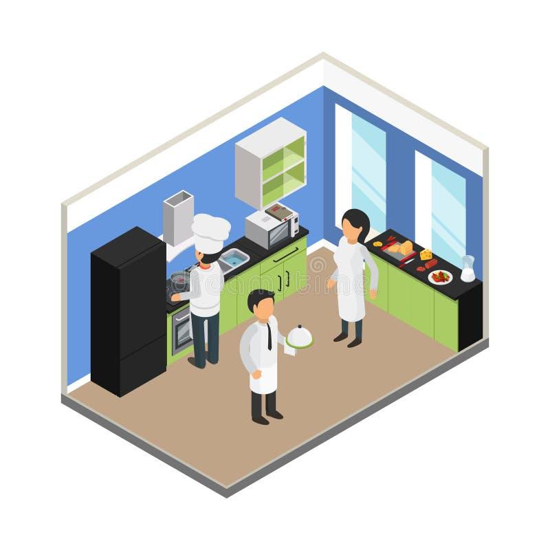 Cucina del ristorante Vettore commerciale della roba del piatto del vassoio del cuoco unico dell'attrezzatura di cibo dell'indust illustrazione di stock