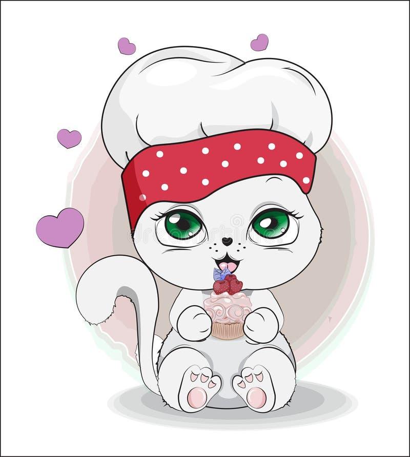 Cucina di gatto con cupcake illustrazione di stock