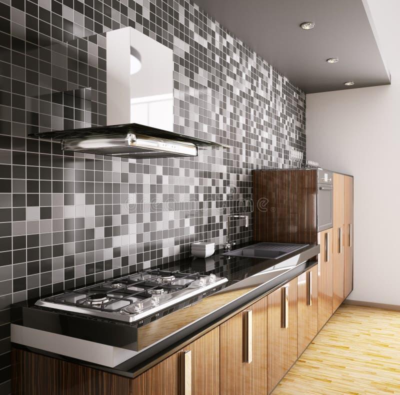Cucina di legno 3d interno dell'ebano moderno illustrazione di stock