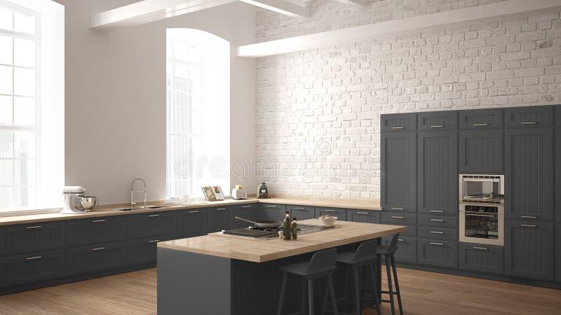 Cucina di legno industriale moderna con i dettagli di legno e l'interior design minimalistic bianco e grigio panoramico della fin illustrazione di stock