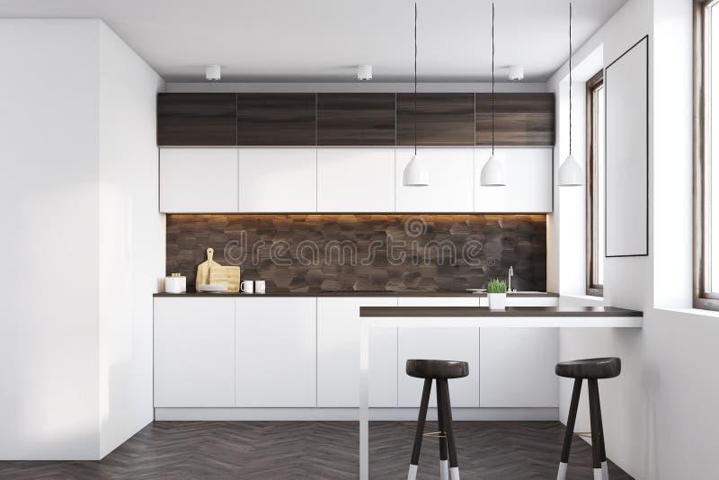 Cucina di legno scura con una barra illustrazione di stock - Barra attrezzata cucina ...