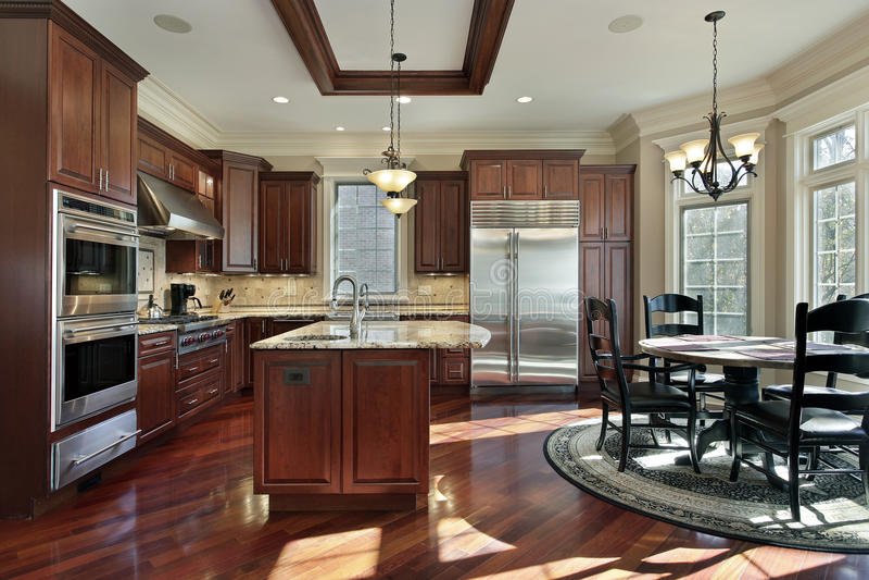 Cucina di lusso con cabinetry di legno della ciliegia immagine stock libera da diritti
