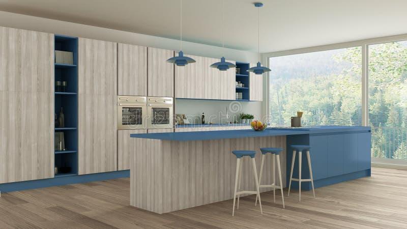 Cucina Di Minimalistic Con I Dettagli Di Legno E Blu, Scandinavi ...