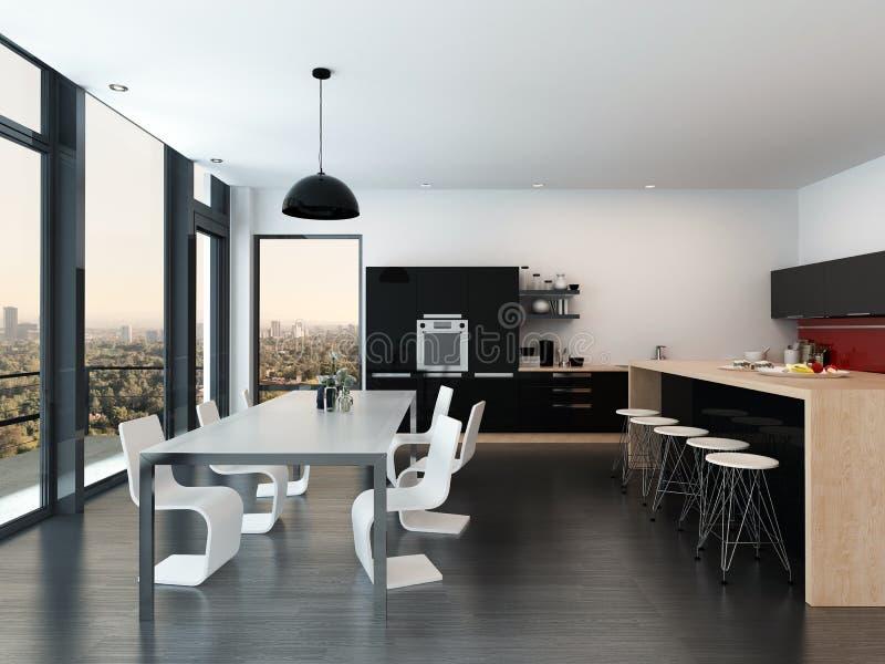 Cucina e sala da pranzo moderne di aperto piano illustrazione di stock illustrazione di - Sale da pranzo moderne ...