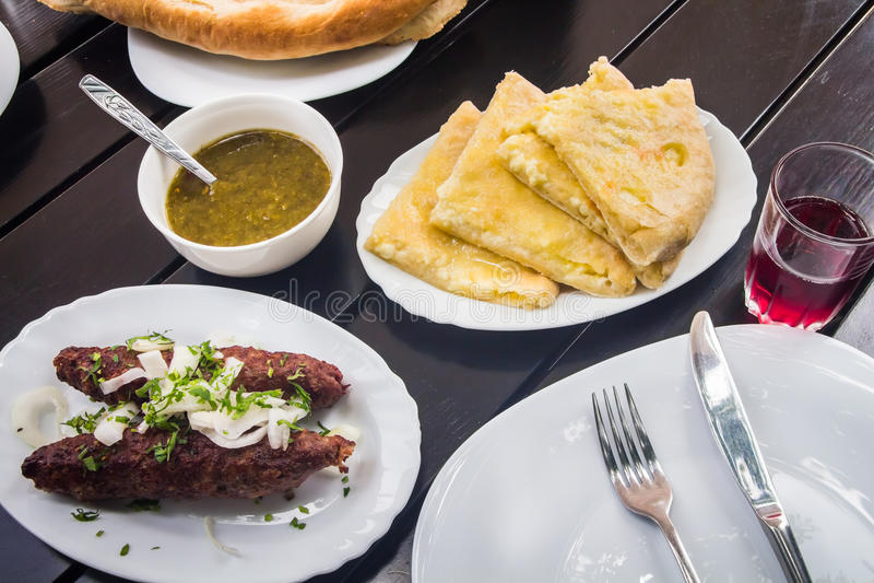 Cucina georgiana Lula Kebab fotografia stock libera da diritti