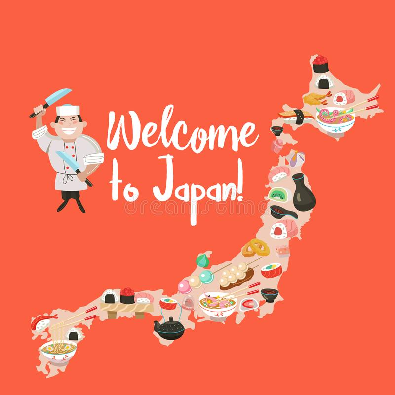 Cucina giapponese Cuoco unico giapponese Insieme di DIS tradizionale giapponese royalty illustrazione gratis