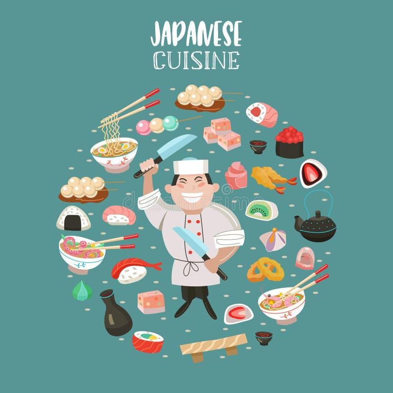Cucina giapponese Illustrazione di vettore Il cuoco unico giapponese illustrazione vettoriale