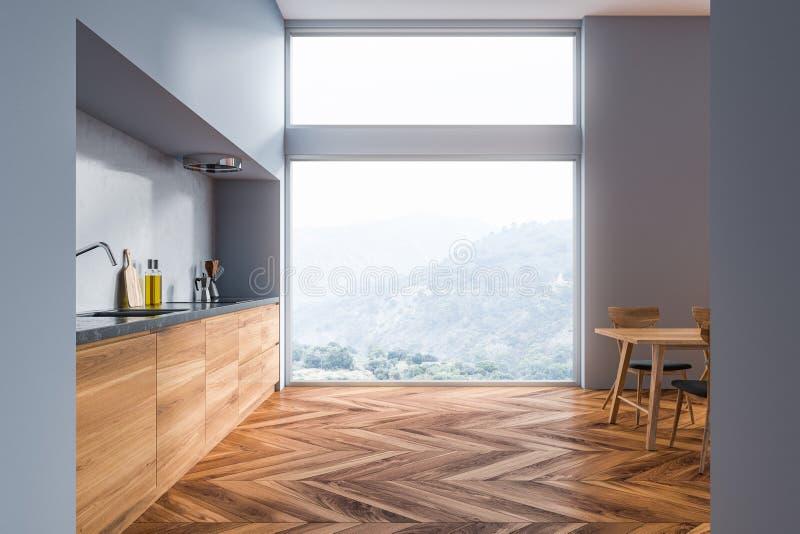 Cucina grigia con i controsoffitti di legno royalty illustrazione gratis