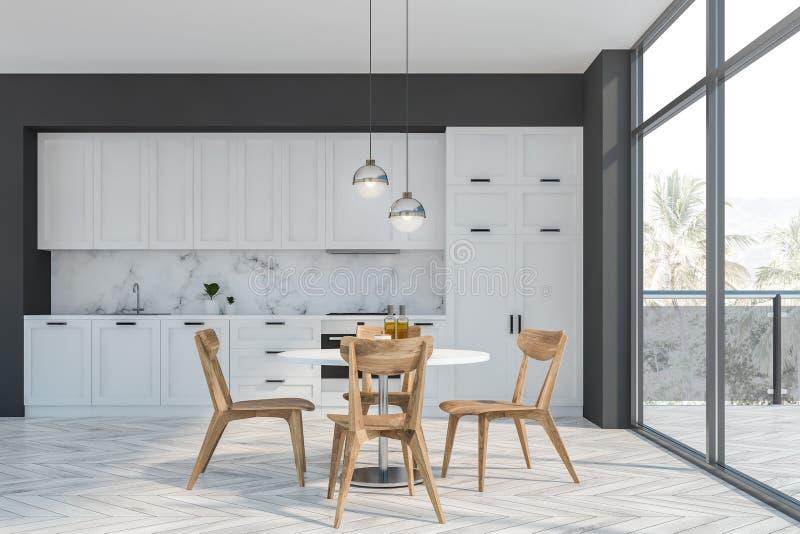 Cucina grigia e bianca con il balcone e la tavola royalty illustrazione gratis