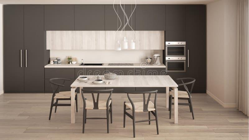 Cucina grigia minima moderna con il pavimento di legno, interno classico immagine stock