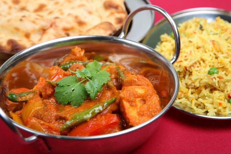 Cucina indiana, pranzo del pasto del curry fotografie stock libere da diritti