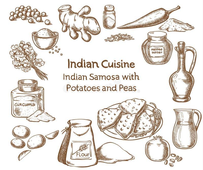 Cucina indiana Samosa con le patate e gli ingredienti dei piselli illustrazione vettoriale