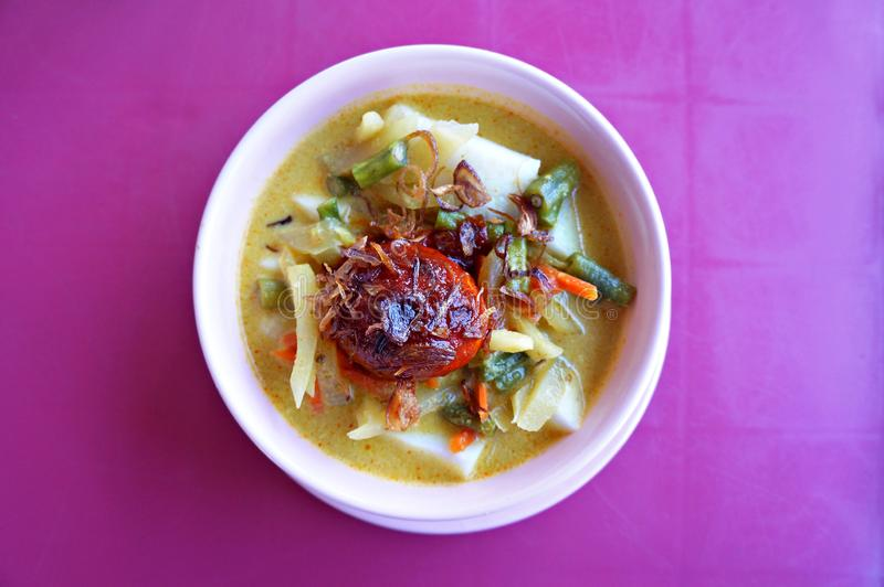 Cucina indonesiana saggia e sana: Lontong Sayur fotografia stock libera da diritti