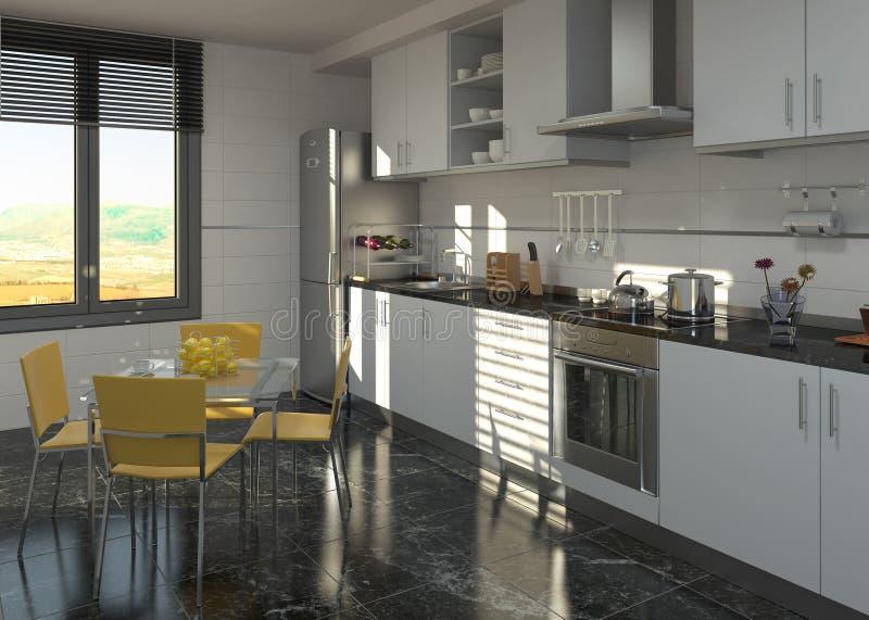 cucina interna di disegno moderna illustrazione vettoriale