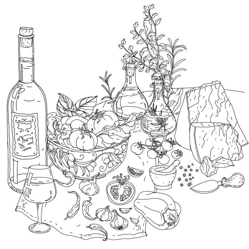 Cucina Italiana Per Il Libro Da Colorare Illustrazione Vettoriale ...