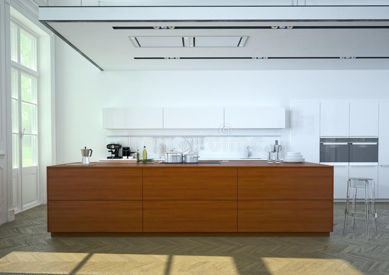 Cucina lussuosa rappresentazione 3d fotografia stock libera da diritti