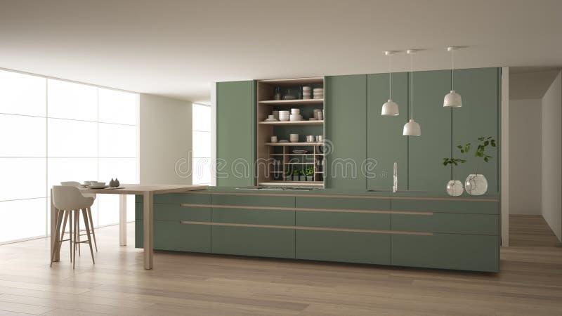 Cucina minimalista bianca e verde in appartamento amichevole di eco, isola, tavola, panchetti e gabinetto aperto con gli accessor fotografie stock