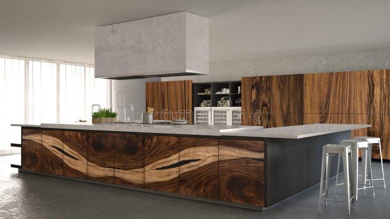 Cucina minimalistic bianca e grigia, con i montaggi del legno classici, interior design di lusso fotografia stock libera da diritti