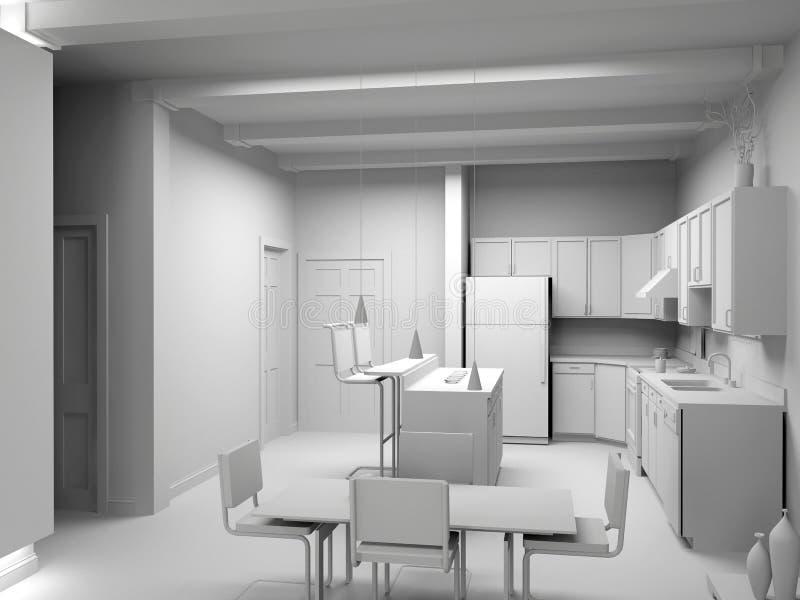 Cucina moderna in bianco royalty illustrazione gratis