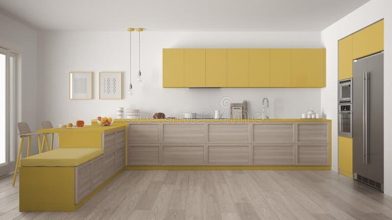 Cucina Moderna Classica Con I Dettagli Ed Il Pavimento Di Parquet Di ...