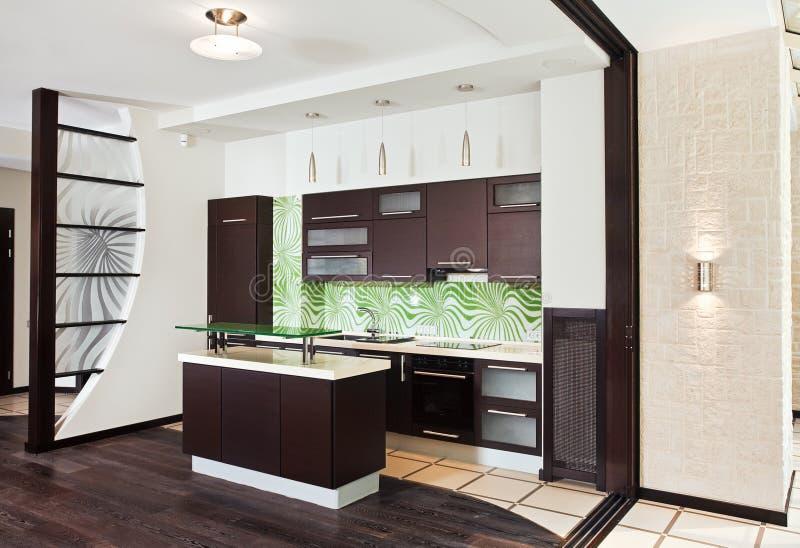 Cucina Moderna Con Il Pavimento Di Legno Scuro Immagine Stock ...