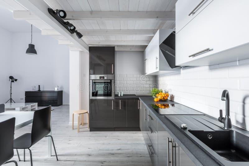 Cucina moderna con il soffitto rustico fotografie stock libere da diritti