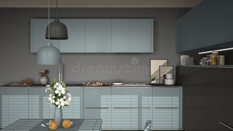 Sedie Blu Cucina : Cucina moderna con la tavola e le sedie cucinando pentola ed