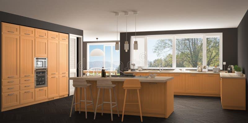 Cucina moderna con le grandi finestre, panorama gr classico della Scandinavia fotografia stock libera da diritti