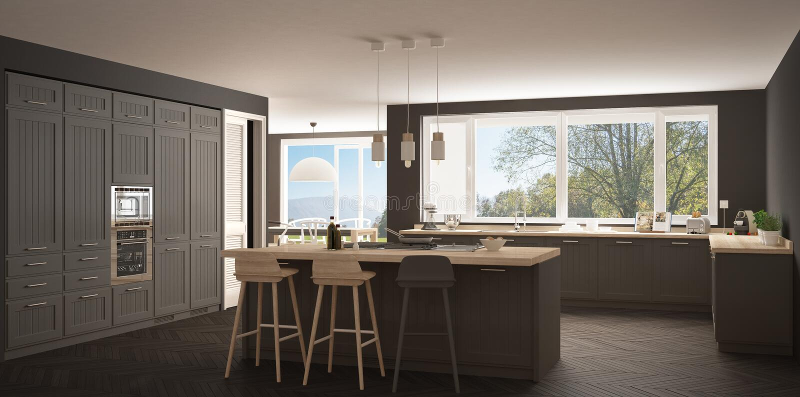 Cucina moderna con le grandi finestre, wh della Scandinavia del classico di panorama immagine stock