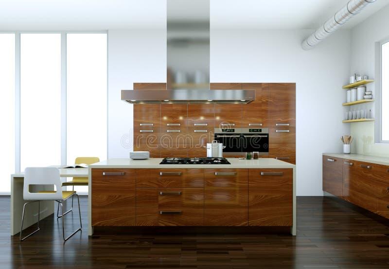 Cucina moderna di legno in una casa con una bella progettazione royalty illustrazione gratis