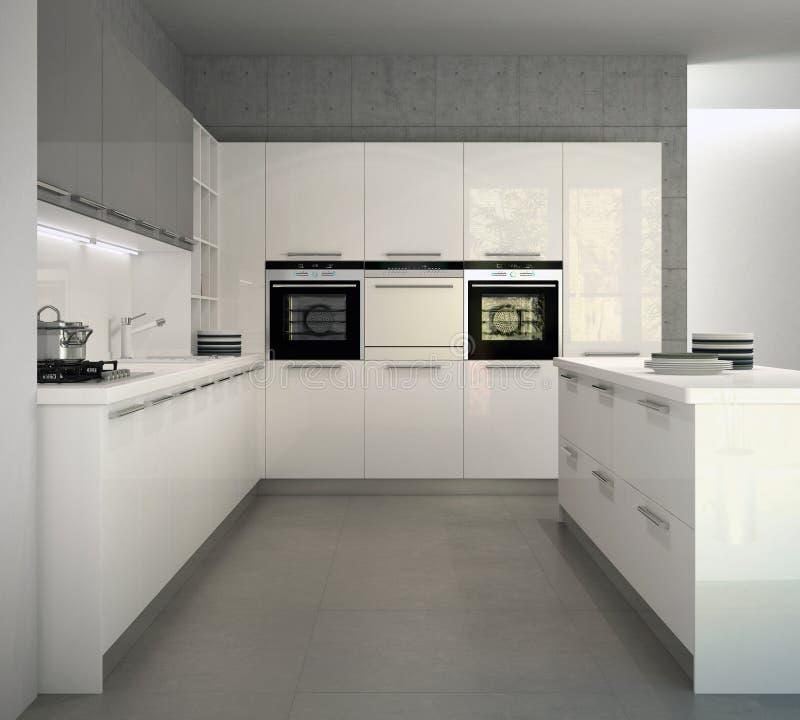 Cucina moderna lucida bianca in un interno illustrazione di stock illustrazione di piastre - Cucina bianca lucida ...