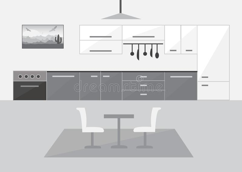 Cucina moderna nella progettazione piana immagine stock