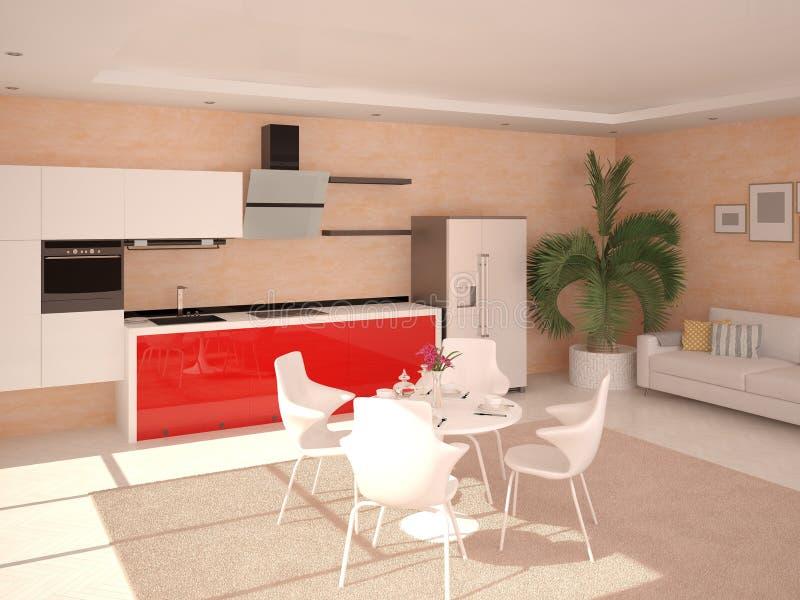 Cucina moderna rossa illustrazione di stock. Illustrazione di luce ...
